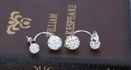 Cercei argint 925 bilute duble zirconiu Shamballa fata