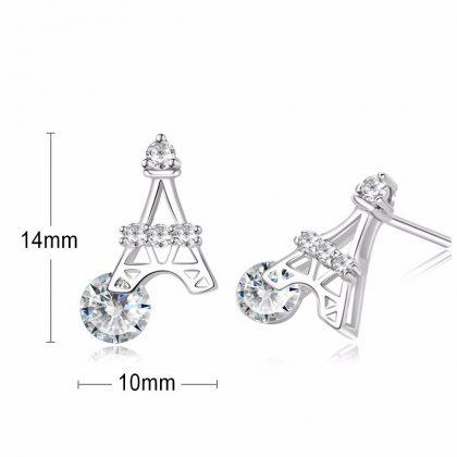 Cercei argint 925 mici Turnu Eiffel dimensiuni