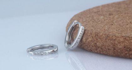Cercei eleganti mici argint 925 zirconiu fata