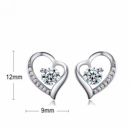 Cercei mici eleganti argint 925 inimioare dimensiuni