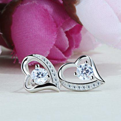 Cercei mici eleganti argint 925 inimioare fata