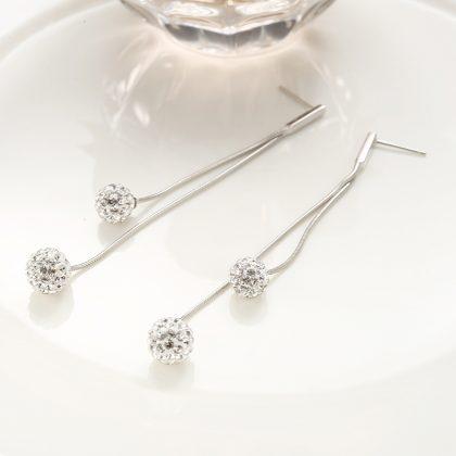 Cercei zirconiu lungi bilute duble argint 925 model