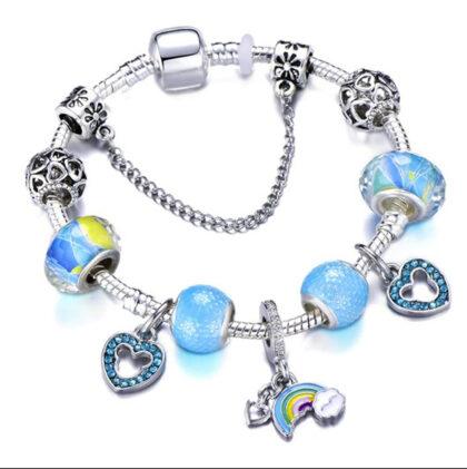 Bratara charm curcubeu cristale albastre