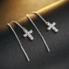 Cercei lungi argint 925 cruciulita profil