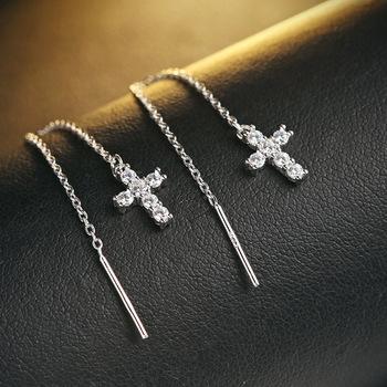 Cercei lungi argint 925 cruciulita