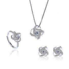 Set argint 925 colier, cercei si inel zirconiu