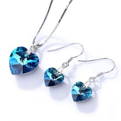 Set argint 925 colier si cercei cristale albastre