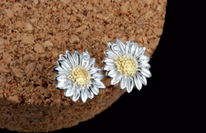 Set argint 925 colier si cercei floarea soarelui cercei