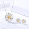 Set argint 925 colier si cercei floarea soarelui fata