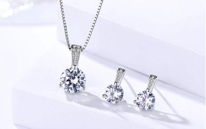Set argint 925 elegant colier si cercei zirconiu fata