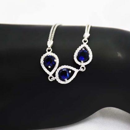Bratara argint 925 cristale albastre fata