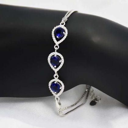 Bratara argint 925 cristale albastre model
