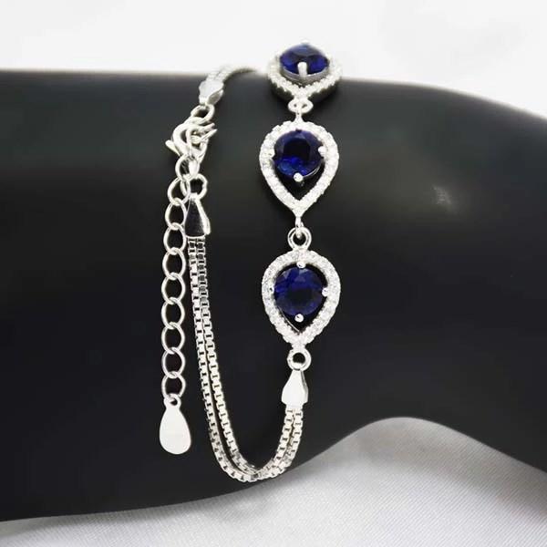 Bratara argint 925 cristale albastre