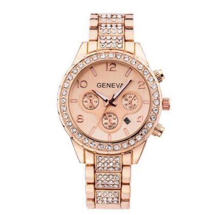 Ceas Geneva roze cu cristale