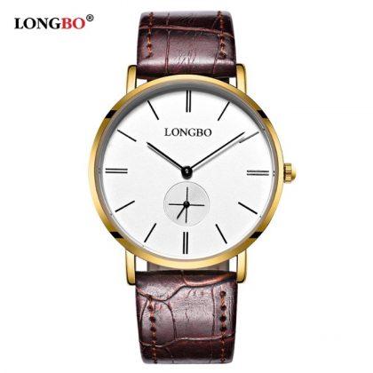 Ceasuri cuplu curea maro Longbo barbati