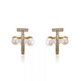 Cercei placati aur cu perle si cristale