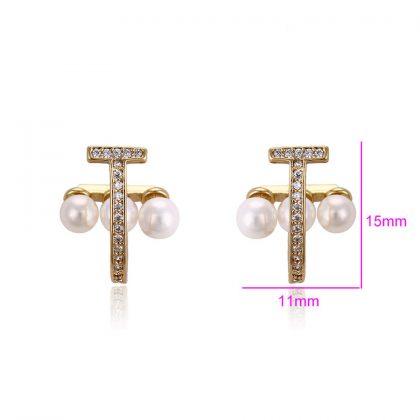 Cercei placati aur cu perle si cristale dimensiuni