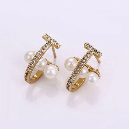 Cercei placati aur cu perle si cristale fata