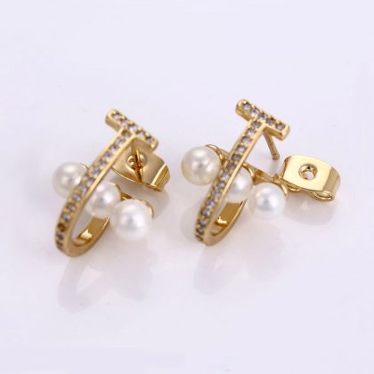 Cercei placati aur cu perle si cristale inchizatoare