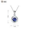 Colier argint 925 cristal albastru dimensiuni