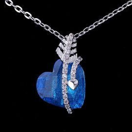 Colier argint 925 cristal albastru inimioara