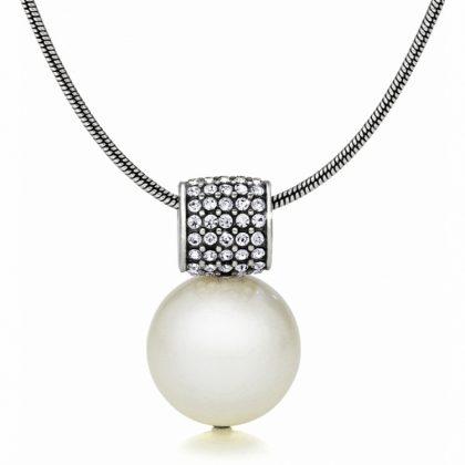 Colier argint 925 cu inelas zirconiu si perla