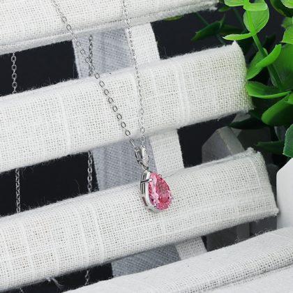 Colier argint 925 elegant cristal roz profil