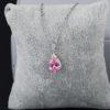 Colier argint 925 elegant cristal roz fata