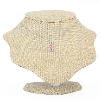 Colier argint 925 elegant cristal roz la gat