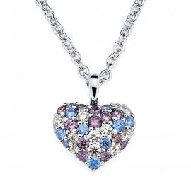 Colier argint 925 inima de cristal multicolora