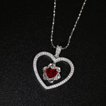 Colier argint 925 model inima rubin rosu expus
