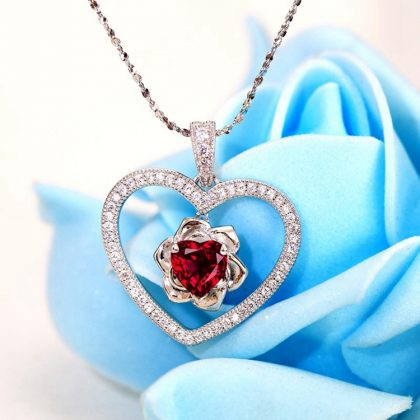 Colier argint 925 model inima rubin rosu fata