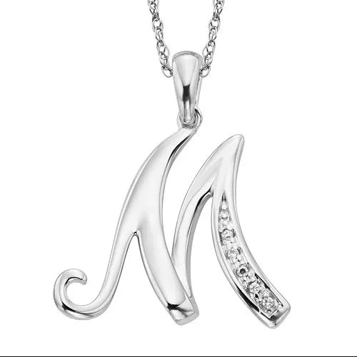 Colier argint 925 zirconiu initiala M