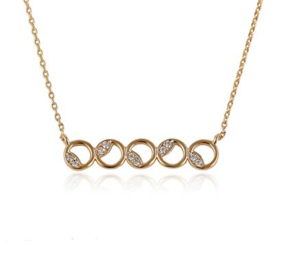 Colier elegant cercuri placat aur cu cristale
