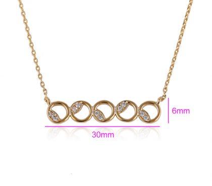 Colier elegant cercuri placat aur cu cristale dimensiuni