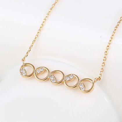 Colier elegant cercuri placat aur cu cristale fata