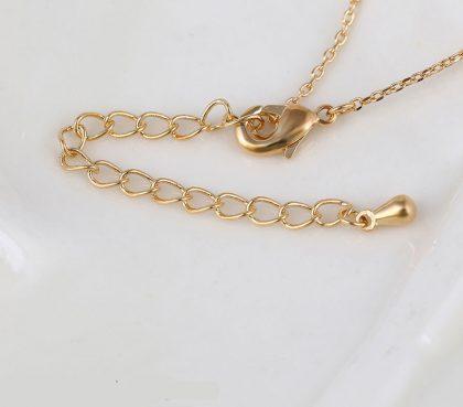 Colier elegant cercuri placat aur cu cristale inchizatoare