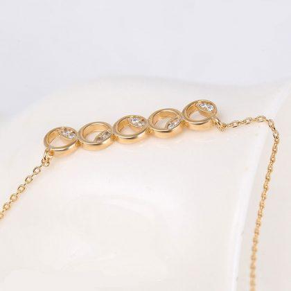 Colier elegant cercuri placat aur cu cristale model