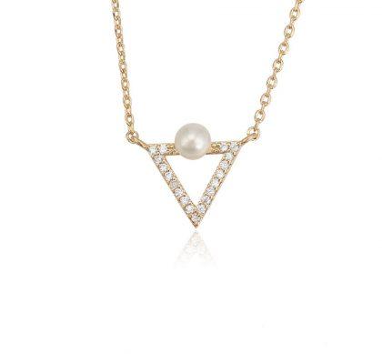 Colier pandantiv triunghi perla placat aur