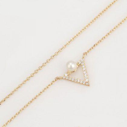 Colier pandantiv triunghi perla placat aur colier