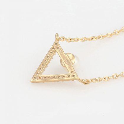 Colier pandantiv triunghi perla placat aur spate