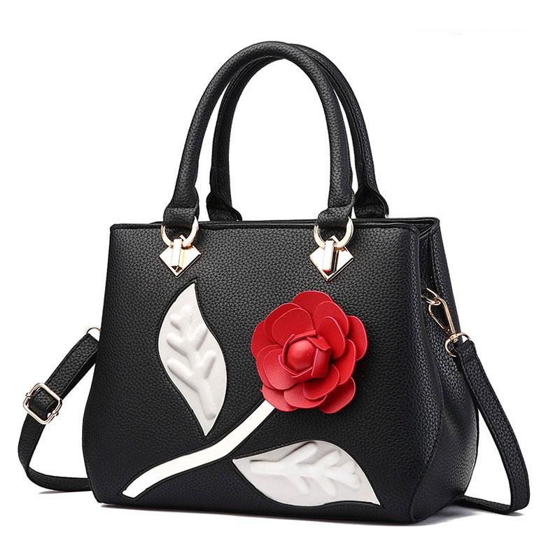 Geanta eleganta neagra imprimeu trandafir
