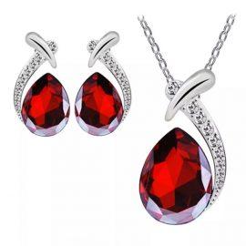 Set bijuterii argint 925 cristal rosu