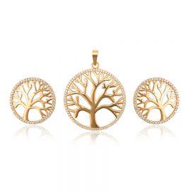 Set colier si cercei copacul vietii placat aur