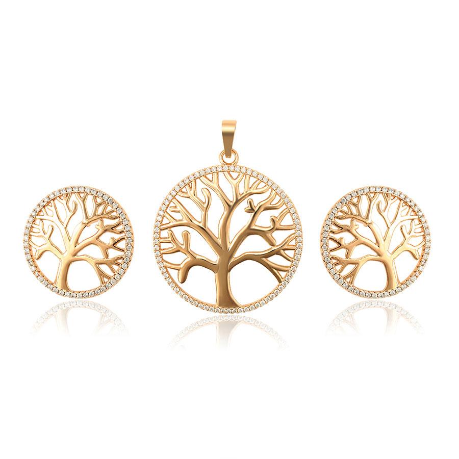 calitate autentică cumpăra bine cea mai bună atitudine Set colier si cercei copacul vietii placat aur – Accessories For You