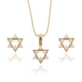 Set colier si cercei cristale placate aur