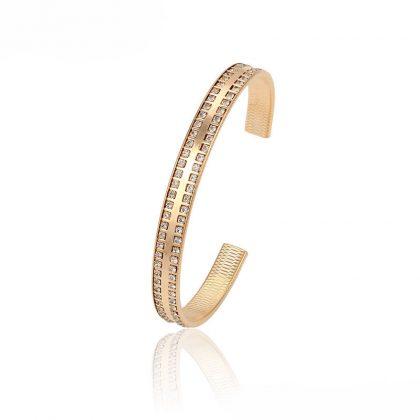 Bratara eleganta rigida cristale placata aur