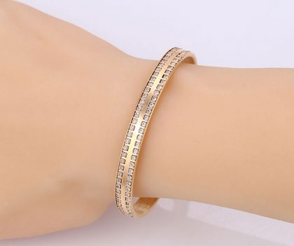 Bratara eleganta rigida cristale placata aur mana