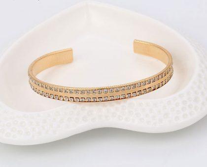 Bratara eleganta rigida cristale placata aur sus
