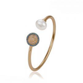 Bratara rigida perla si cristale placata aur